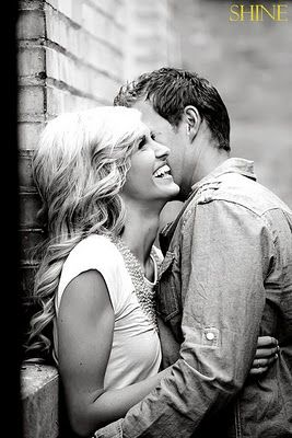 I love laughing engagement pics. Especially in black and white
