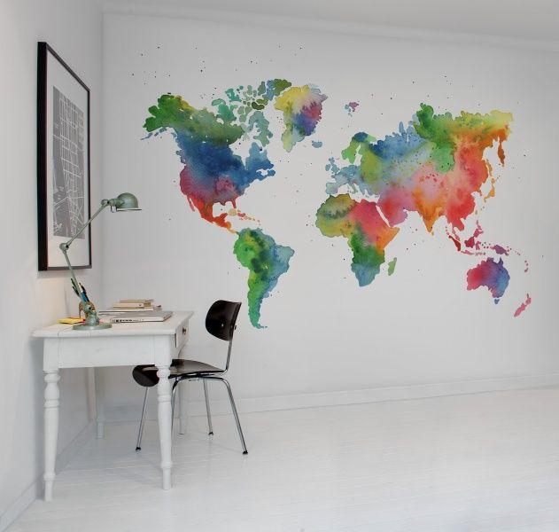 Rebel Walls behang wereldkaart Rainbow World