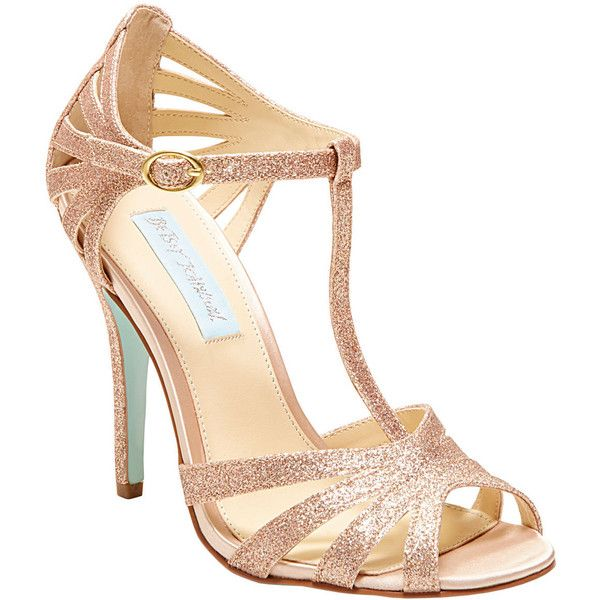 Betsey Johnson Sb-Tee ($69) ❤ liked on Polyvore featuring shoes, sandals, heels, blue by betsey johnson, champagne, new arrivals, t strap shoes, evening shoes, glitter shoes and t strap high heel sandals