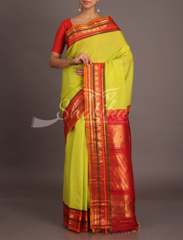 Samhita Lime Yellow With Contrast Ornate Border Pallu Pure Gadwal Silk Cotton Saree