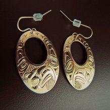 Eagle Gold Haida Oval Earrings by Carmen Goertzen