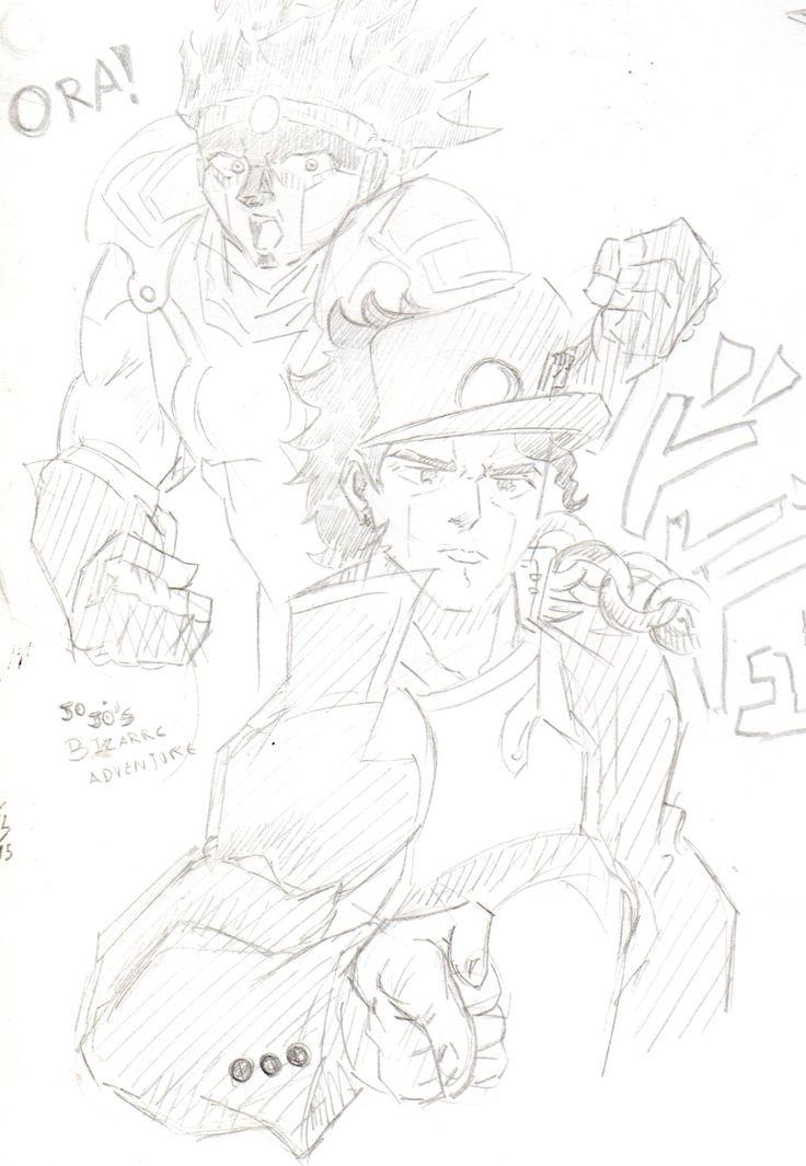 Jotaro Kujo and Star Platinum, Jojo's Bizarre Adventure fanart by Joes Pal.