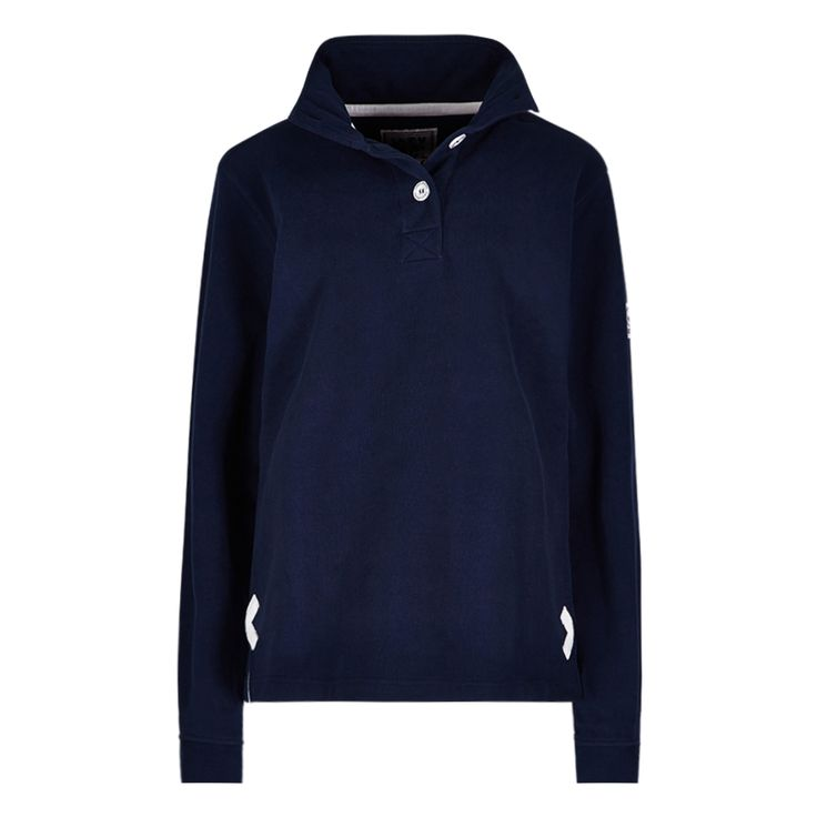 Ladies supersoft button neck sweatshirt in a slim fit style Featuring contrast stitching, side vents, contrast side crosses, ribbed cuffs and a logo embroidery to the back neck collar All of our sweatshirts are pre-washed to minimise shrinkage Heavyweight luxury sueded 100% Cotton
