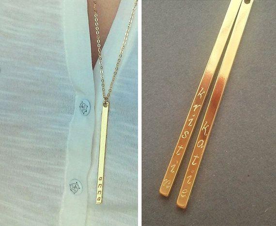 WO LIEGT DAS PROBLEM DIESES DING 3mm mal 5cm ZU MACHEN!!!! Langnamen Bar Halskette / personalisiert vertikale von JulenJewel