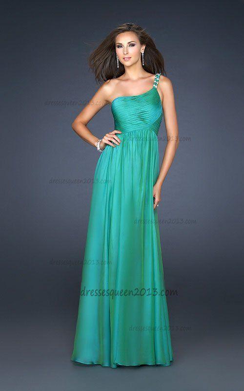 Long green one shoulder chiffon prom dress