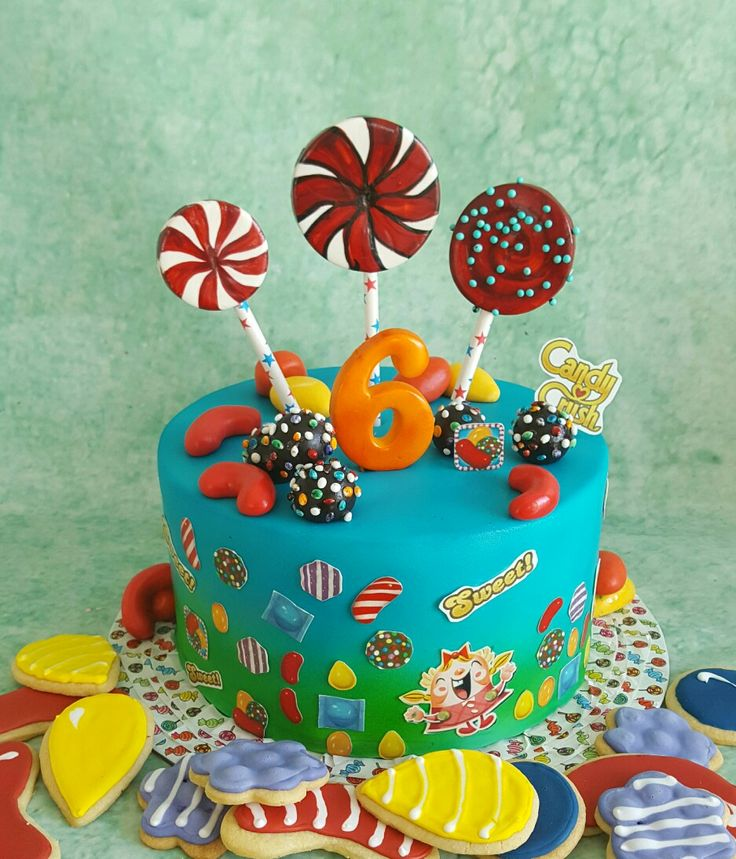 A candy crush cake for a 6 year old