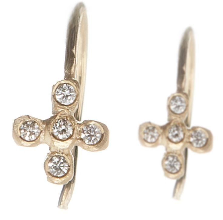 Dewdrop Diamond Cross Earrings