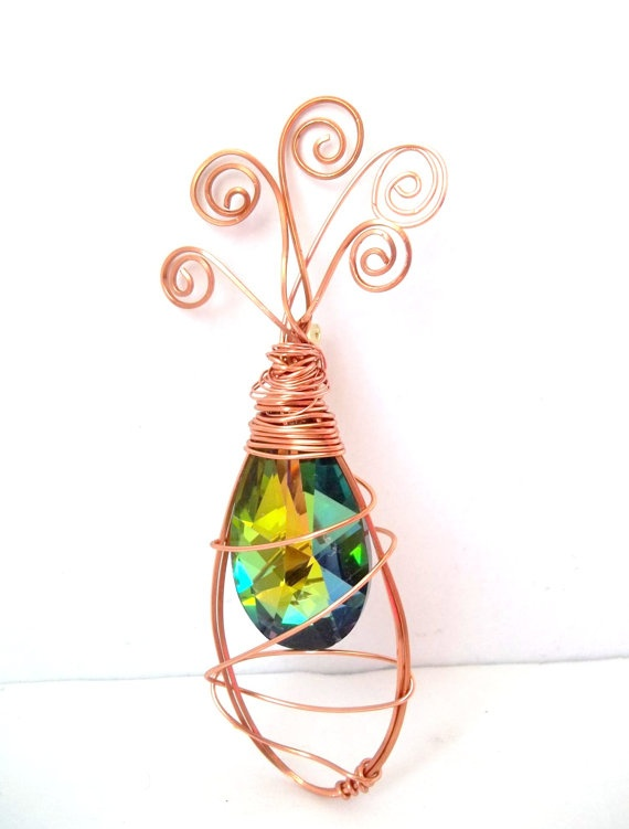 Faux Watermelon Crystal and Copper Wire Wrapped by momadonnas, $16.00: Fellow Etsian, Watermelon Crystals, Copper Wire, Faux Watermelon, Wire Wraps