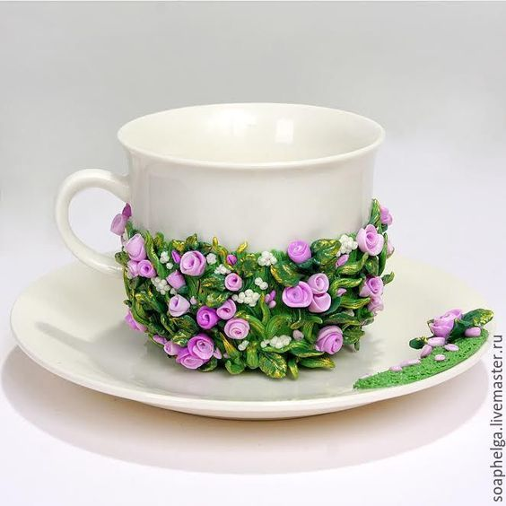 Cup with polymer clay decor | Купить Чашка с блюдцем, декорированные полимерной глиной - заказать чашку, чашка ручной работы