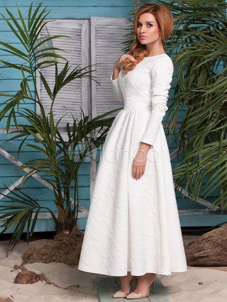 Peplum branco algodão mistura vestido Maxi para mulher - Milanoo.com