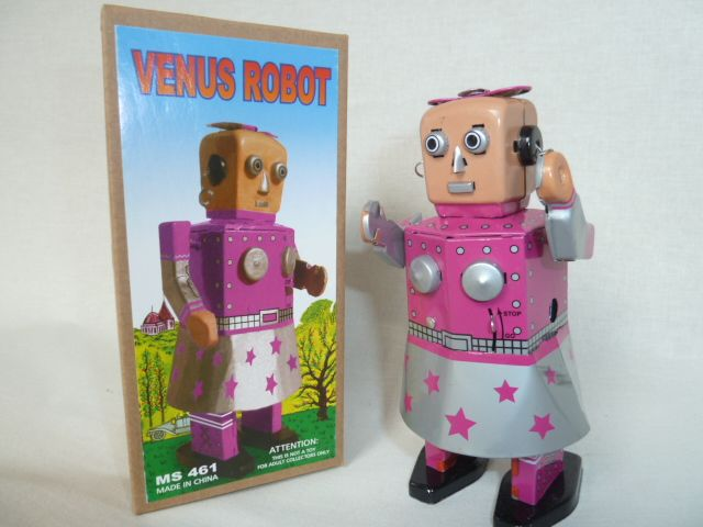 Robot girl Venus wind-up tin toy - Robot meisje opwindbaar blikken speelgoed
