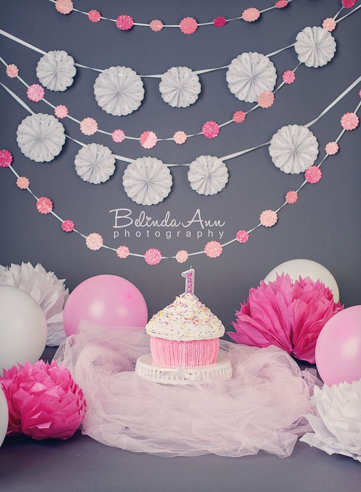 Storm Grey backdrop with banners and one of my cakes http://fb.com/belindaannphotography
