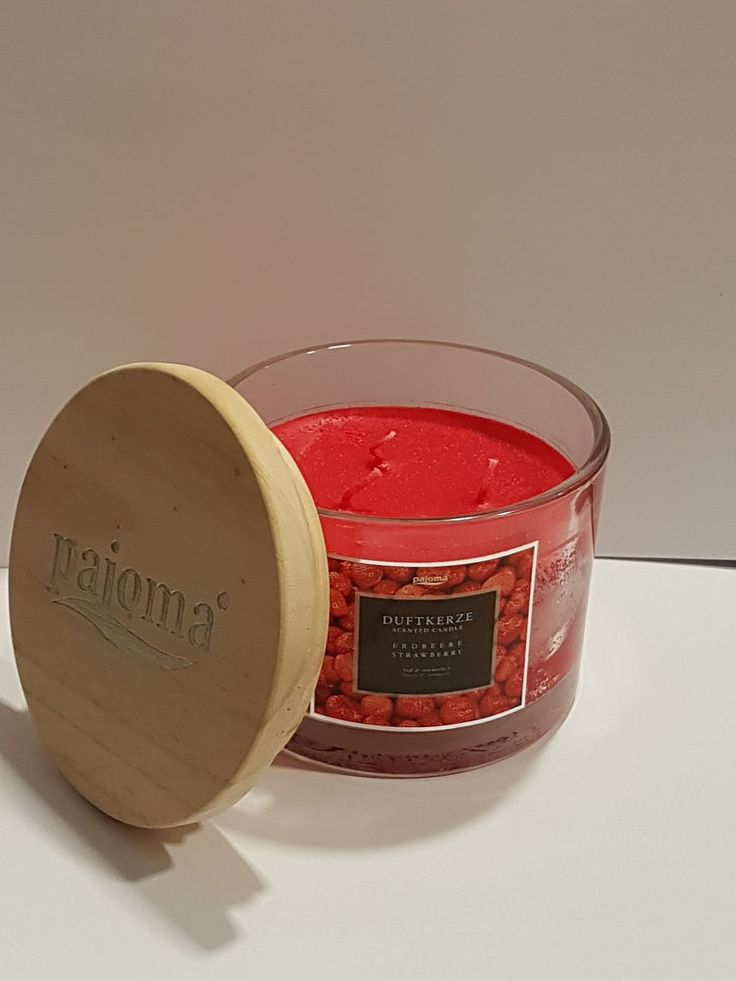 Duftkerze / Kerze im Glas Erdbeere 3 Docht Pajoma edel Holzdeckel Scented candle
