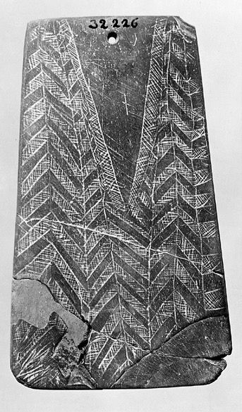 Stone age burial slate plaque. Portugal