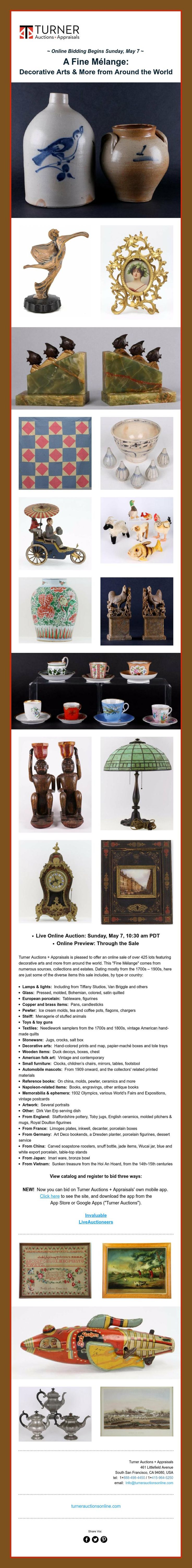 ~ Online Bidding Begins Sunday, May 7 ~      A Fine Mélange:   Decorative Arts & More from Around the World