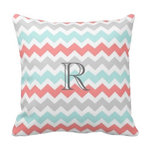 Teal Coral Gray Chevrons Pattern Monogram Pillow