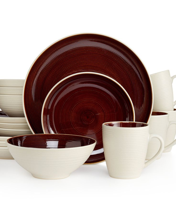 Sango Riva Brown 16-Pc. Set, Service for 4 - Dinnerware - Dining & Entertaining - Macy's