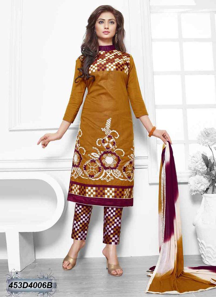 Decent Yellow Coloured Cambric Cotton Unstitched Salwar suit
