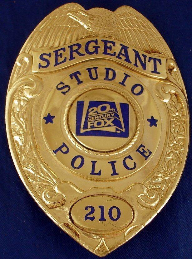 20th CENTURY FOX STUDIO POLICE SERGEANT BADGE FOR SALE.