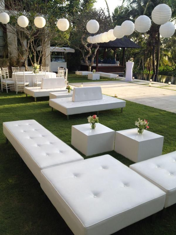 Ottomans and cube table bali event furniture rental for Outdoor cocktail party decorating ideas