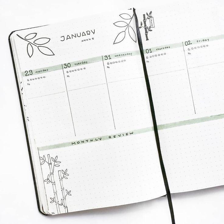 Bullet Journal wöchentliches Layout Pflanzenzeichnungen Bambuszeichnungen Blattzeichnungen hervorgehobene tägliche Überschriften monatliche Überpr…