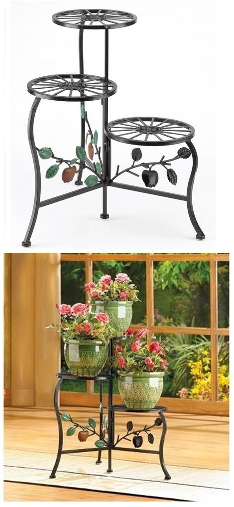 Country Plant Stand Shelf Holds 3-Flower Pot | World In Green