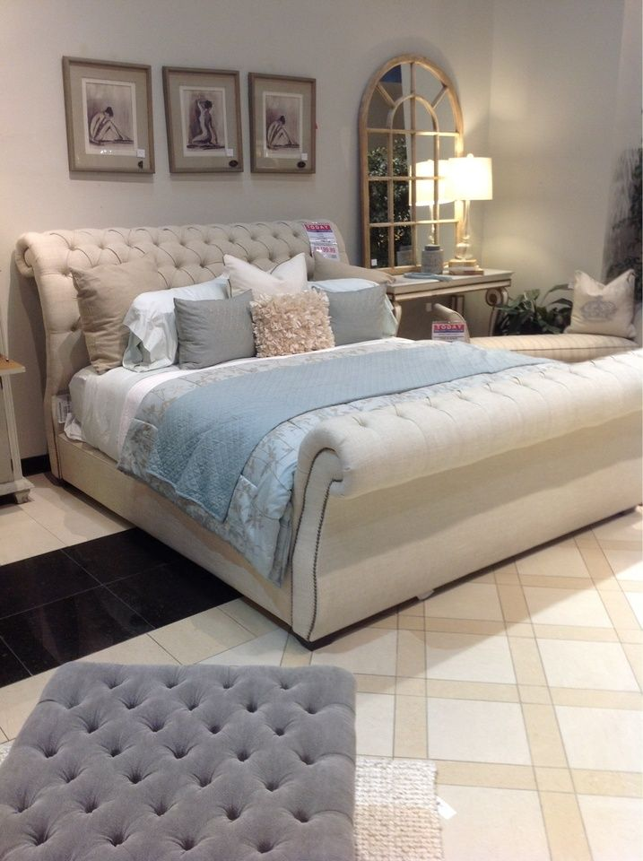 A light powder blue can give your bedroom new life this season! | Houston TX | Gallery Furniture |