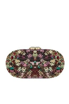 Clutches, Deep red and green hand crusted leather minaudière clutch Featuring a deep red and green oval box minaudiere clutch in canvas with fully zardosi hand crusted in floral pattern. It has round metal push lock on top and detachable sling chain Shop Now at www.carmaonlinesh... #carma #carmaonlineshop #ZardoziCapsule #clutch #AccessoriesBySabyasachi #shopnow #onlineshopping