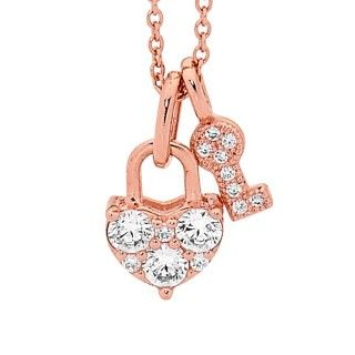 Georgini Lock and Key Pendant in Rose Gold Plated Silver on Chain