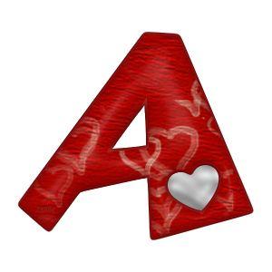 Alfabeto rojo con corazones blancos.   Oh my Alfabetos!