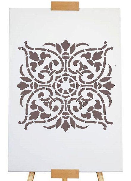 """Stencil damaszt 18,5 x 18,5cm - 7 3/8 """"x 7 3/8"""""""