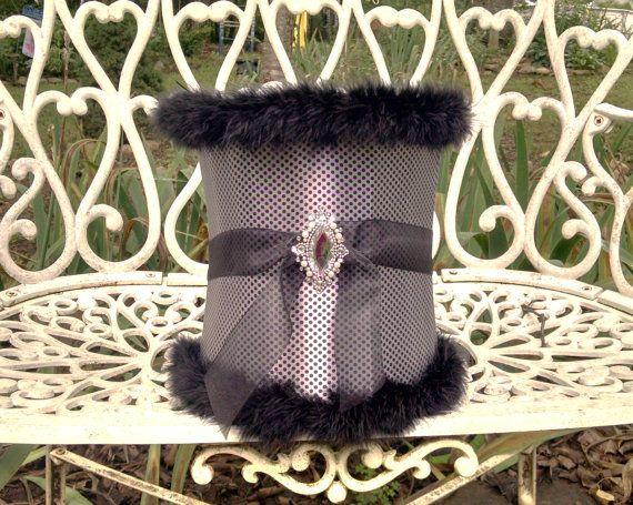 Hollywood Regencylampshade Français Paris Glam filles chambre gris foncé à pois avec les garnitures abat-jour noir fausse fourrure