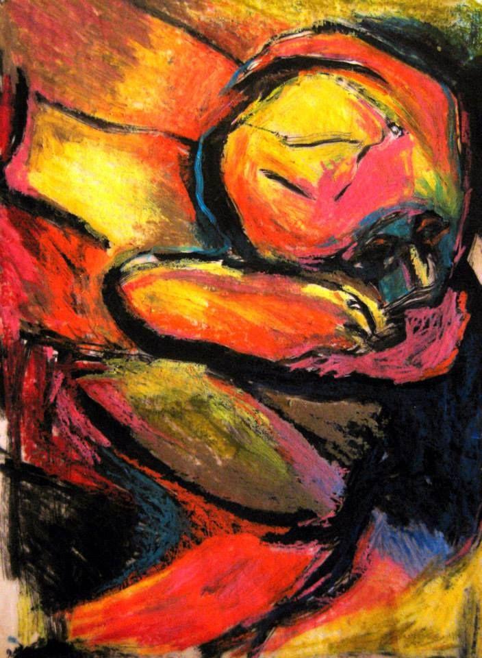 Le Nouveau-né. Encre et pastels gras, 30X40 cm.