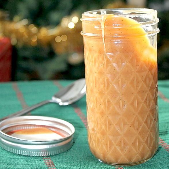 I may just put a straw in the jar, is that wrong?  Holiday gift idea~ Vanilla Bean Caramel Sauce~ drizzle it over cheesecake, brownies, cake, ice cream, pies, hot chocolate, etc.