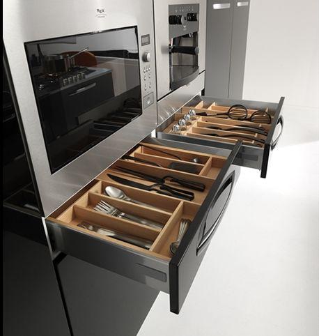 Axis Cucine Plana Kitchen Cabinet Modular System Storage Space Drawers  Cutlery Modern Interior Design