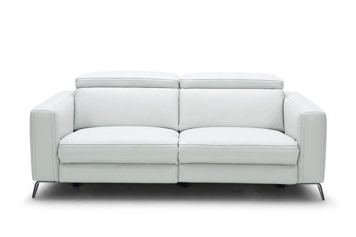 Divani Casa Roslyn Modern White Leather Sofa Set w/ Recliners ...