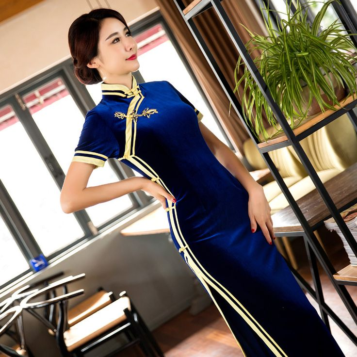 TIC-TEC women cheongsam long qipao chinese traditional dress oriental dresses velet vintage evening elegant clothes P2952