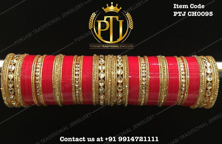 """Punjabi Traditional ""Gold Kundan Red Wedding Churra""  Item Code - PTJ CH0095  For price please inbox with Image or WhatsApp at this number +91 9914721111…"""