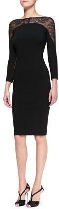 Carolina Herrera Lace-Panel Sheath Dress on shopstyle.com