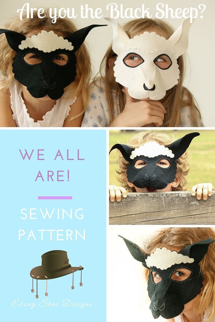 """Sheep Mask PDF Pattern. Super cute and cuddly sheep mask or little lamb costume.  Quick and easy to make, great step-by-step instructions.  Great for where is """"Where is Green Sheep"""" for book day."""