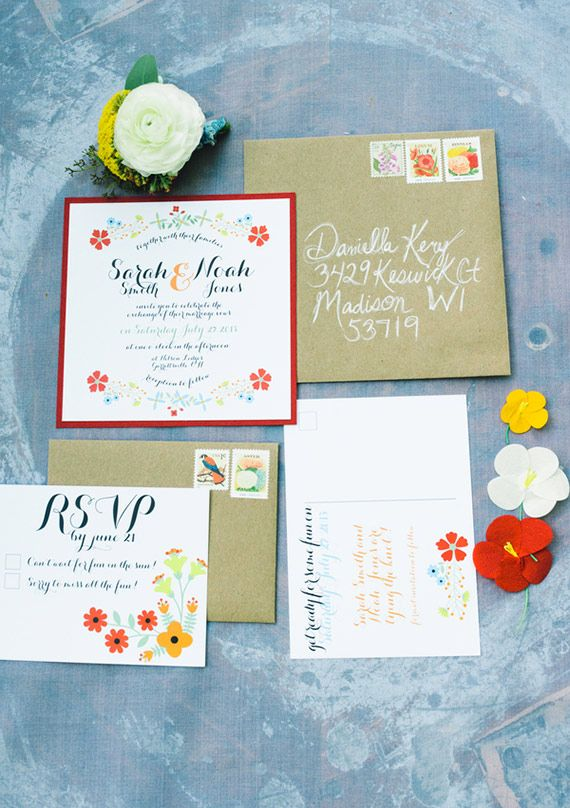 bursts of orange and citrus give these invitations a beautiful palette. fantastic touch with corresponding stamps that fit the floral theme.