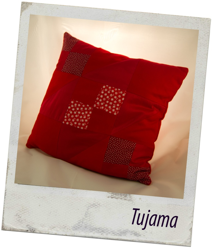 Red homemade patchwork pillow :)     All rights reserved :P