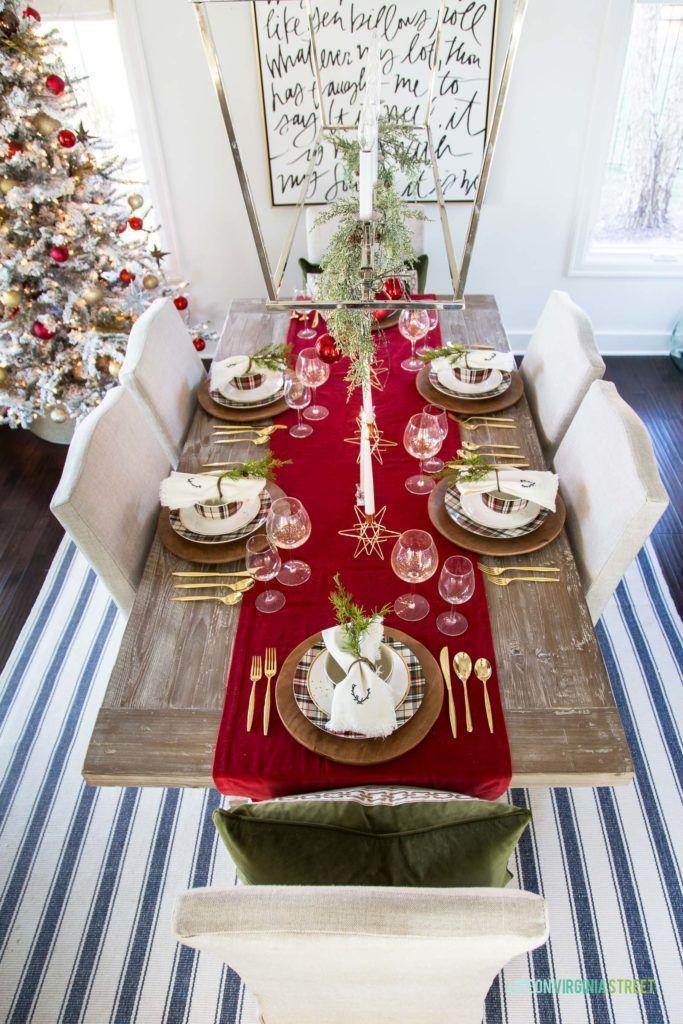Bright Red Table Runner Christmas Tablescape Idea Via Lifeonvirginiastreet Christmas Table Decorations Red Table Runner Christmas Christmas Tablescapes