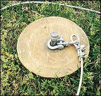 A Fail-Safe Dog Tie-Out 3' Pipe, with a cap on top to pound into ground with a wooden disc to prevent digging out.