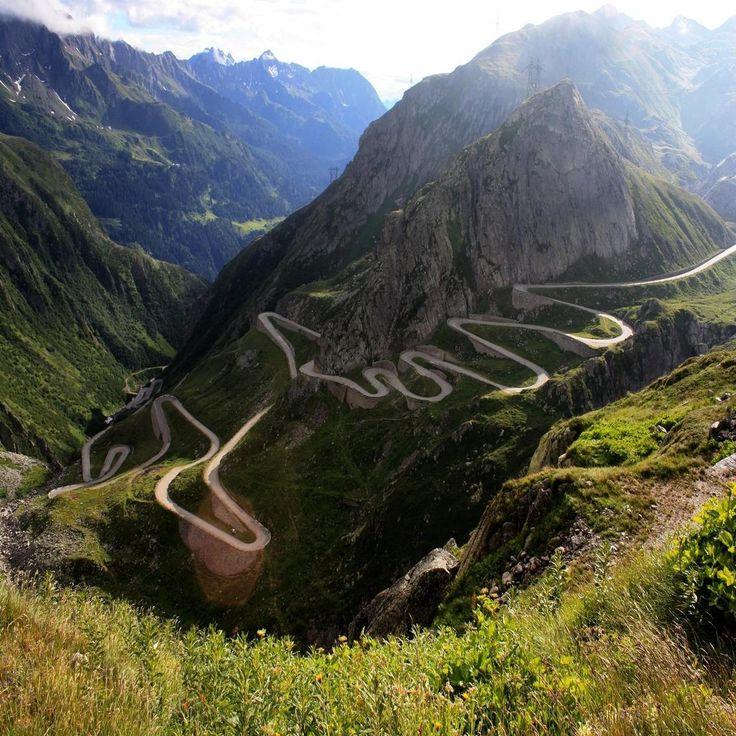 serpentine road in gotthard pass in switzerland