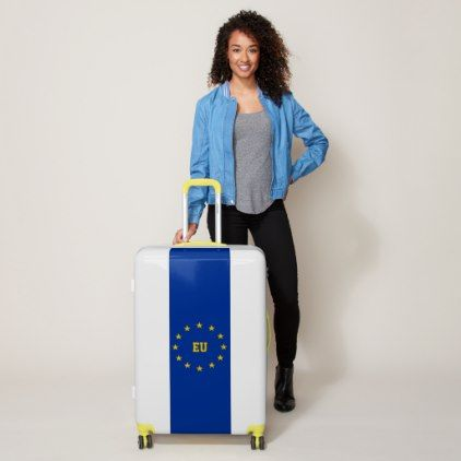 European Flag with (or without) Initial(s) Luggage - initial gift idea style unique special diy