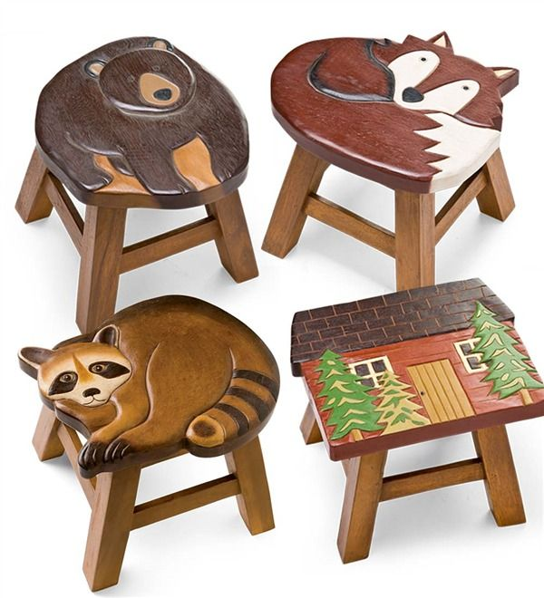 Main image for Hand Carved Acacia Woodland Friends Stool