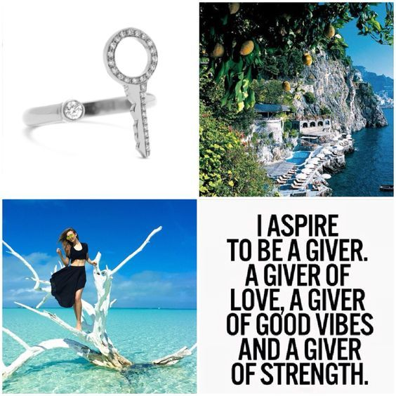 aspire to be a #giver . A giver of #love , a giver of good vibes and a giver of #strength  Morning inspirations with our #keytomyheart ring in white gold pave in diamonds  #charmaleena #CharmaleenaJewelley #Mycharmaleena #goodVibes