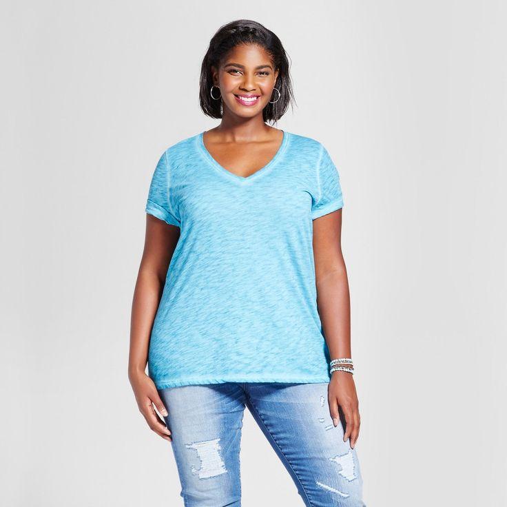 Women's Plus Size V-Neck T-Shirt - Ava & Viv Deep Teal 4X