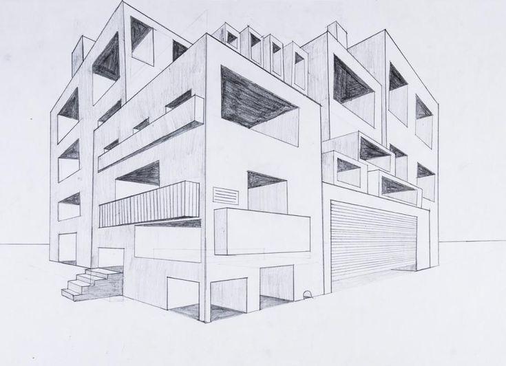 perspektive mit 2 fluchtpunkten futuristisches geb ude art perspektive kunst perspektive. Black Bedroom Furniture Sets. Home Design Ideas